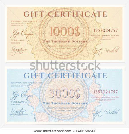 Gift Certificate Voucher Coupon Template Guilloche Stock Vector ...