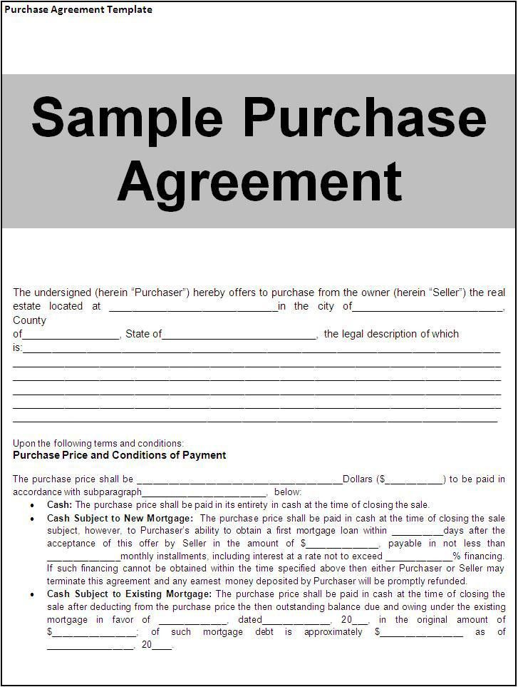 Purchase Agreement Template Download Page | Word Excel Formats