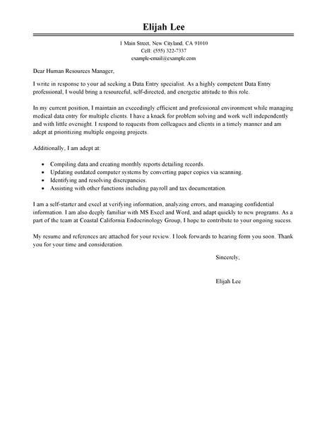 Data Entry Cover Letter. Top 5 Data Entry Clerk Cover Letter ...