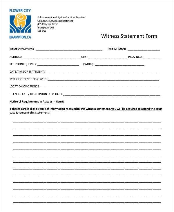 Statement Form Examples