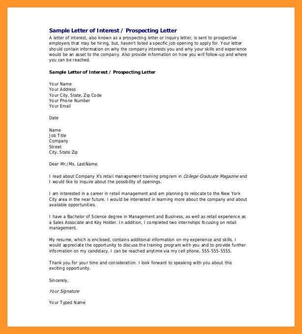 letter of intent for a job opening | sop example