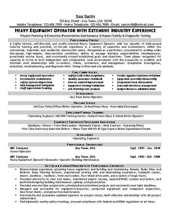 Operator Resume Example