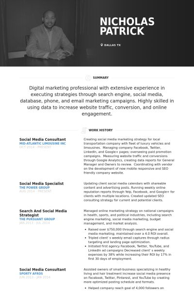 Social Media Consultant Resume samples - VisualCV resume samples ...