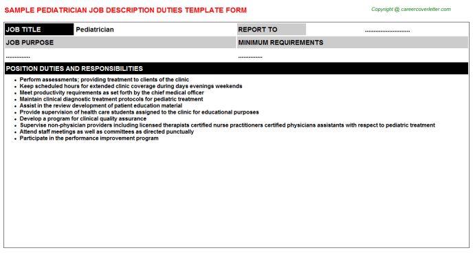 Pediatrician Job Title Docs