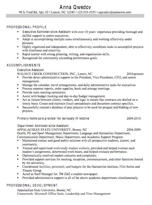 Executive Administrative Assistant Resume Sample | Free Resumes Tips