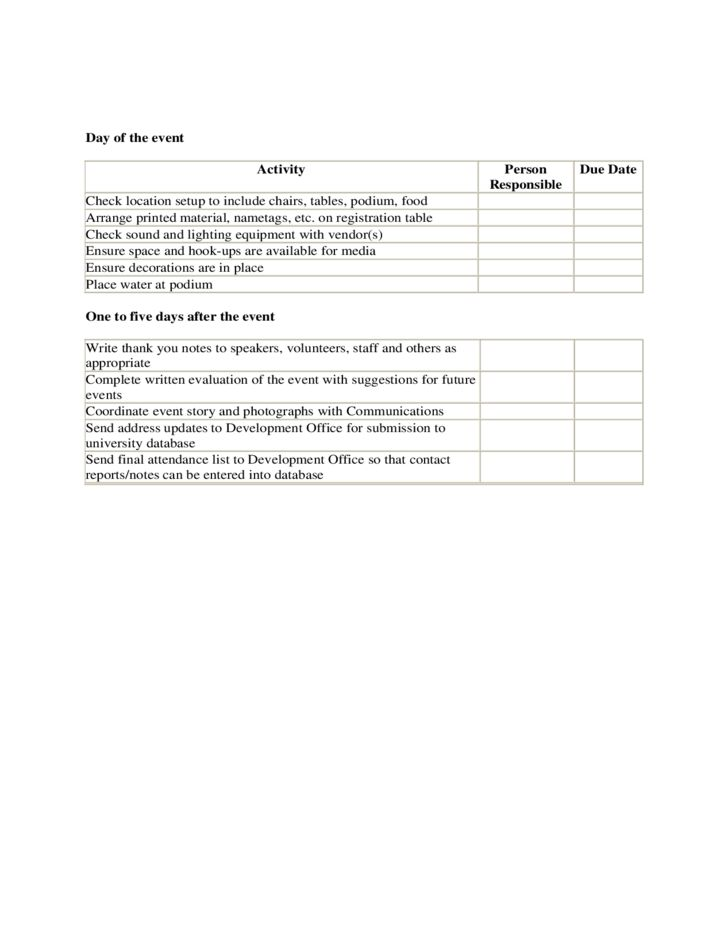 Attendees List Template. timeline and checklist for event planning ...