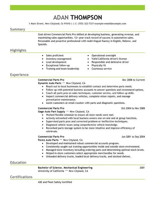 Unforgettable Commercial Parts Pro Resume Examples to Stand Out ...