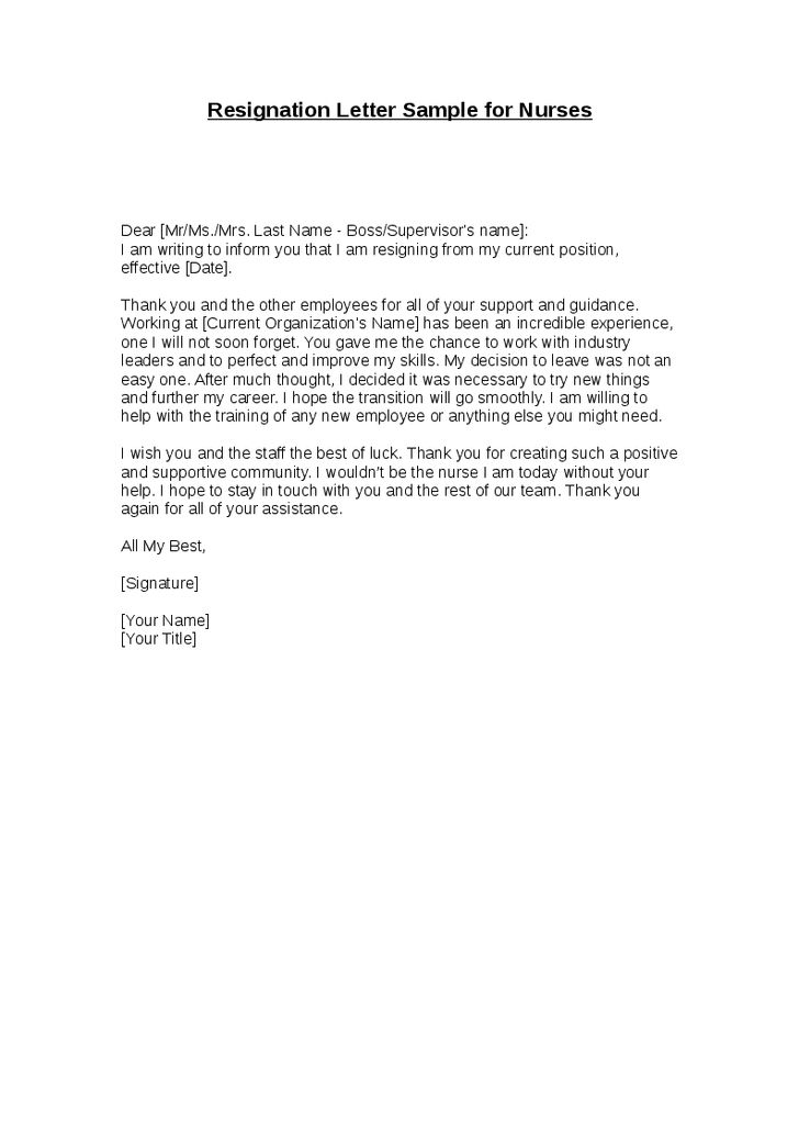 Resignation Letter Format: Senior Transport Nursing Letter Of ...