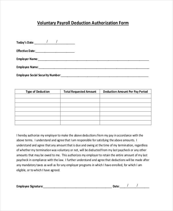Sample Payrolle Deduction Form - 12+ Free Documents in PDF