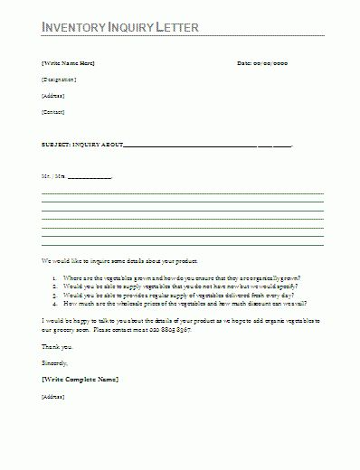 Inventory Inquiry Letter Sample | Free Word Templates