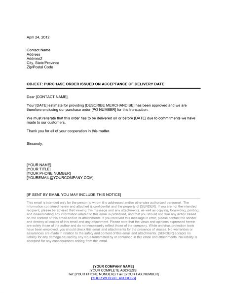 Letter Purchase Order Issued on Acceptance of Delivery Date ...