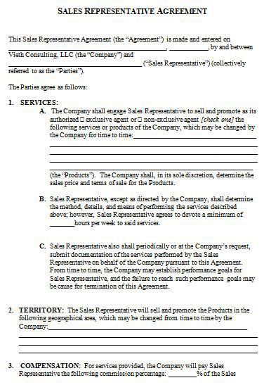 Sales Agency Agreement Template. Contract Sales Representative ...