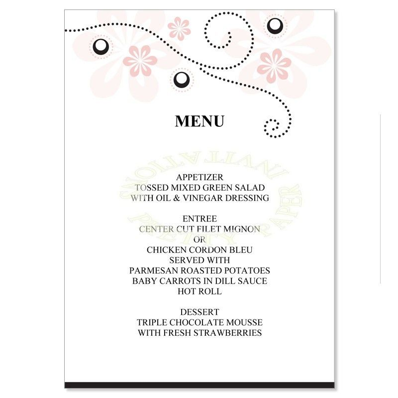 Pink & Black Wedding Menu Templates - Crystal Soft Pink Do It ...