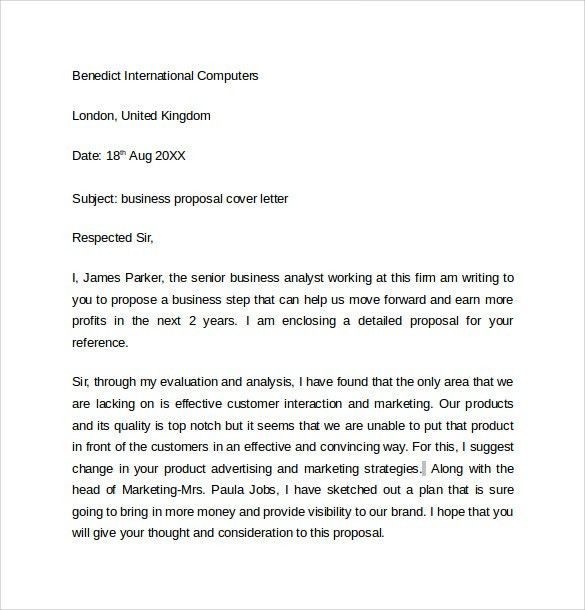 Business Proposal Cover Letter Sample Business Proposal Cover