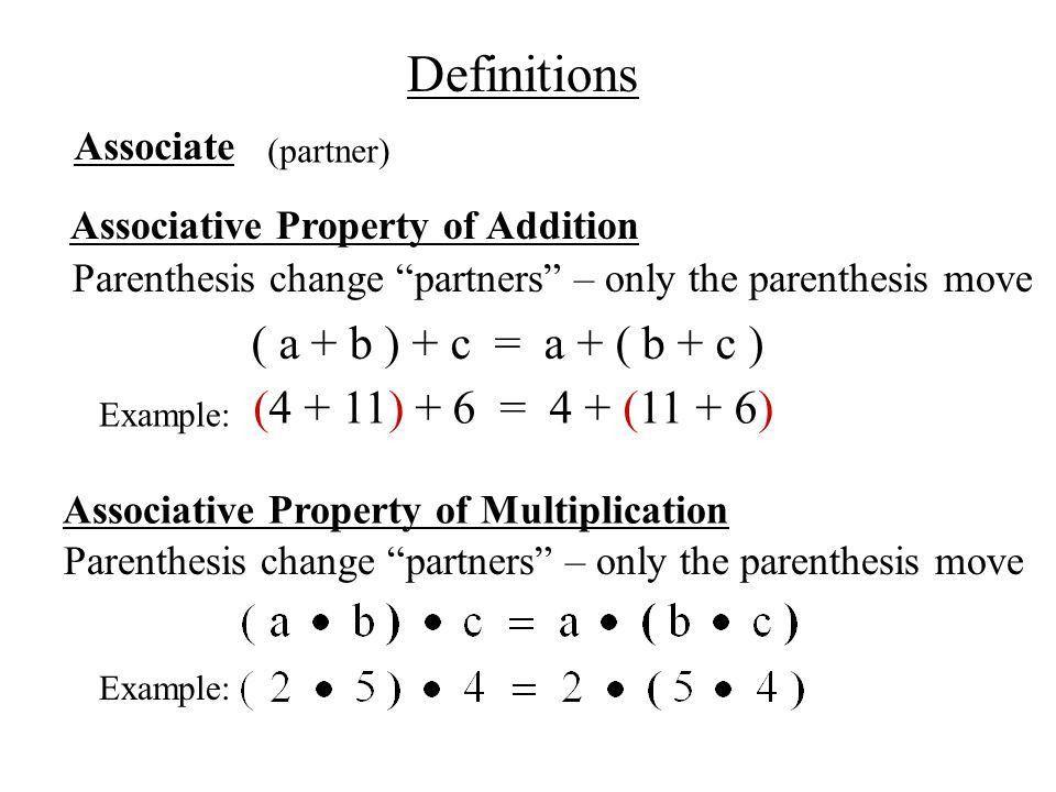 Ch 1.6 Commutative & Associative Properties - ppt download