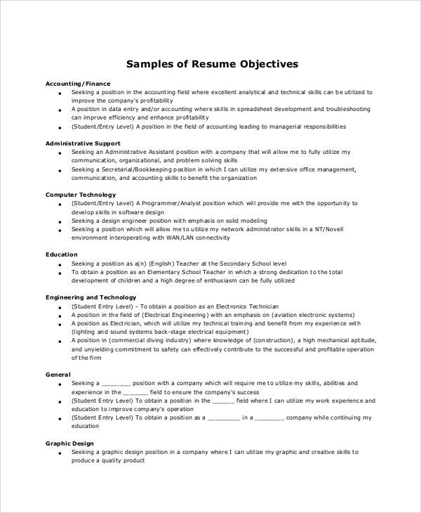 Sample Resume Objective - 6+ Examples in Word, PDF