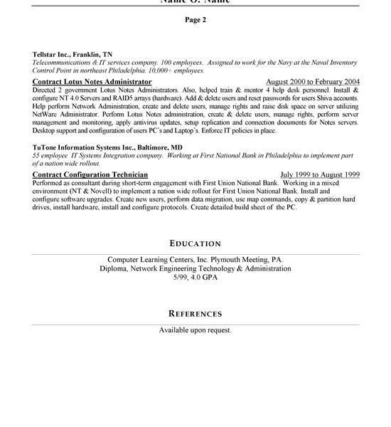 Network Administrator Resume Template Network Administrator