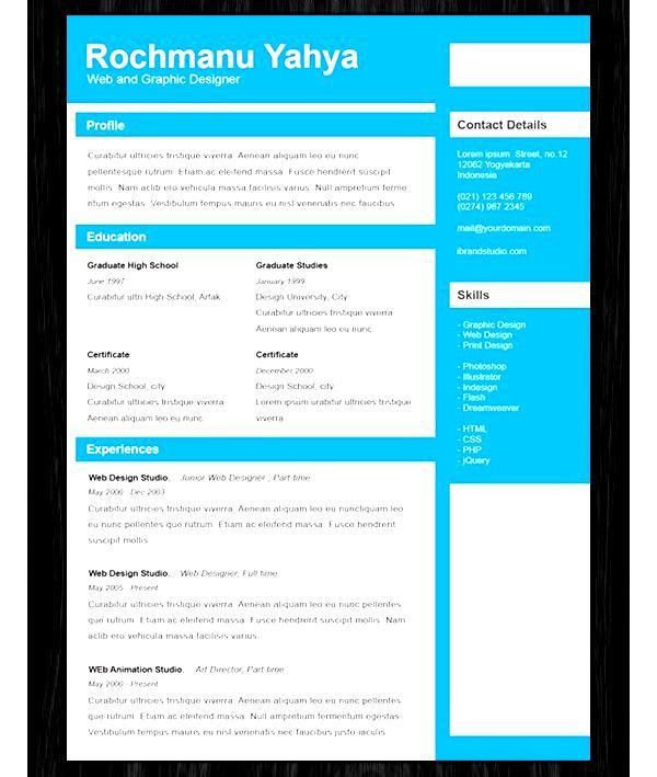 Free One Page Resume Templates - Free Samples , Examples & Format ...