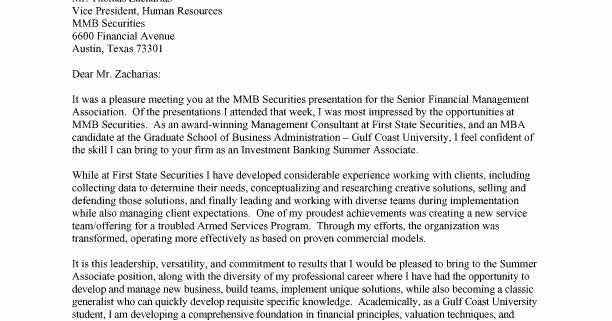 Impressive Ideas Cover Letter Investment Banking 1 Example - CV ...