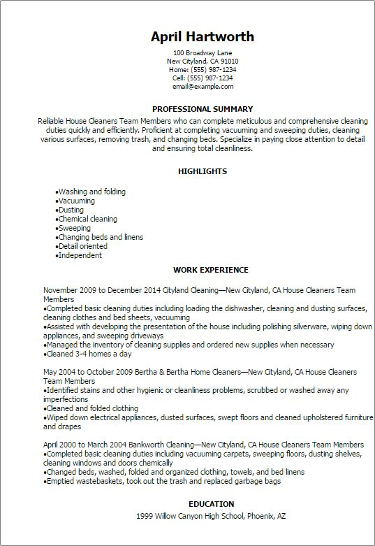 house cleaner resume unforgettable residential house cleaner