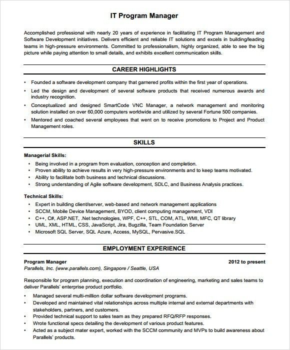 sample project manager resume project manager resume pdf sample. Resume Example. Resume CV Cover Letter