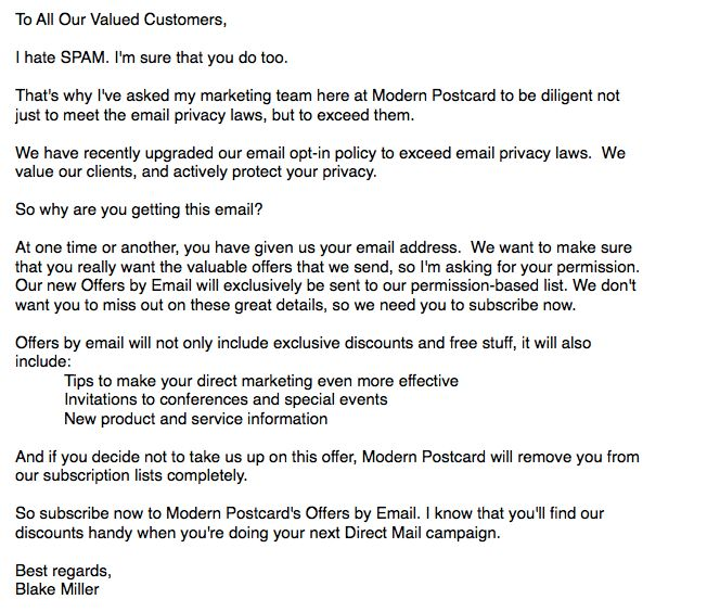 Reclaim Old Customer Emails (example)