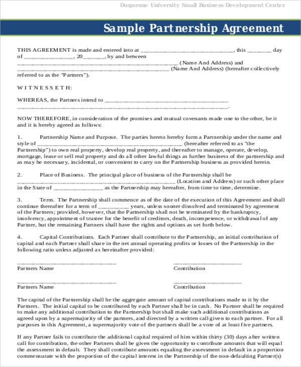 Partnership Agreement Contract Sample   7+ Examples In Word, PDF