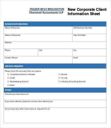 Client Information Sheet Template - 9+ Free Word, PDF Documents ...