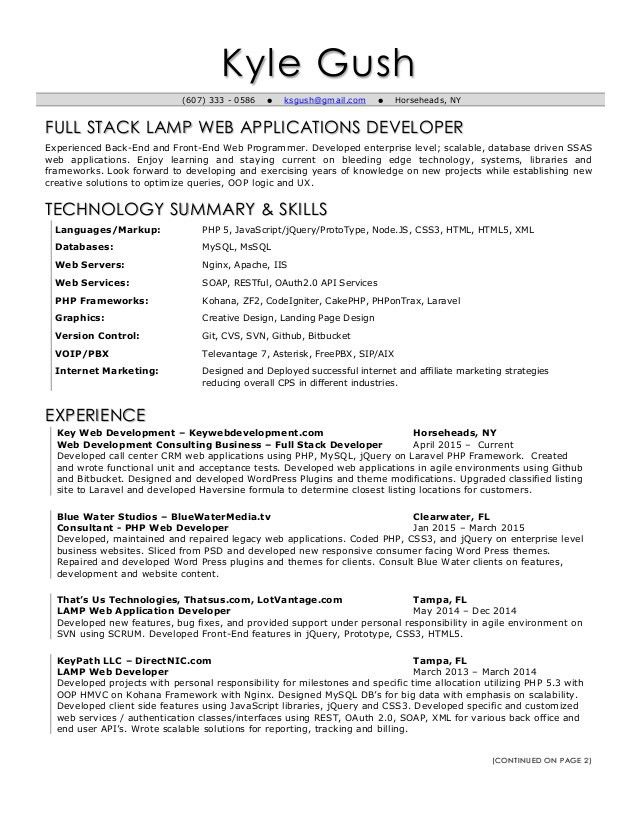 Lofty Inspiration Full Stack Developer Resume 6 Hilarys One Page ...