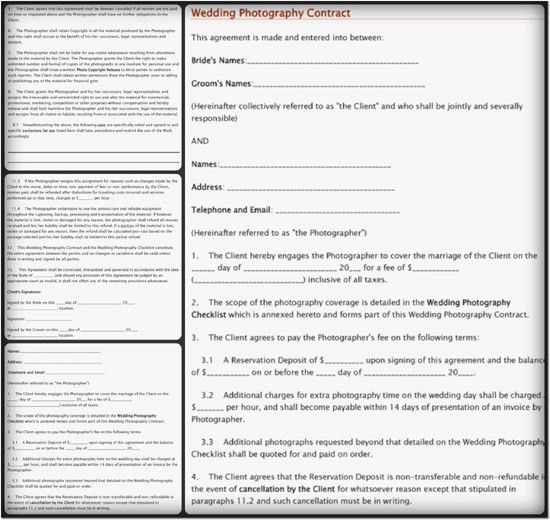 5+ Sample Wedding Photography Contract Templates {Word-PDF}