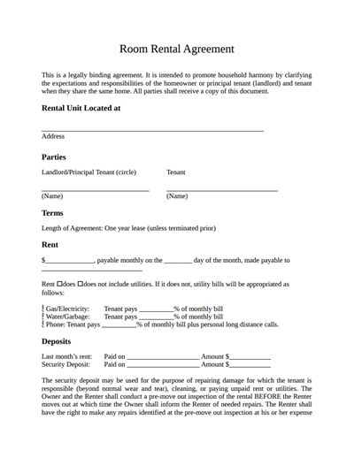 Room Rental Agreement Template: Free Download, Create, Edit, Fill