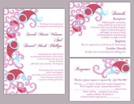 DIY Bollywood Wedding Invitation Template Set Editable Word File ...