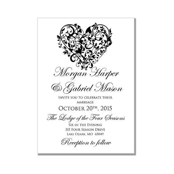 "Printable Wedding Invitation ""Heart"" DIY Wedding Invitations ..."