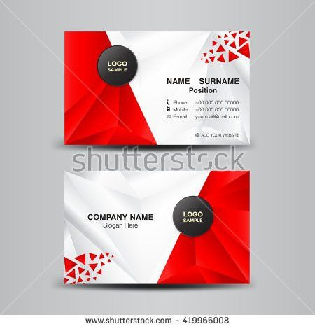 business card template vector illustration,green polygon ...