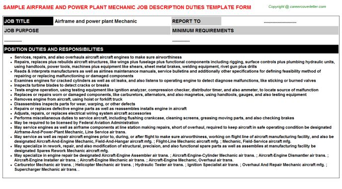 Airframe And Power Plant Mechanic Job Title Docs