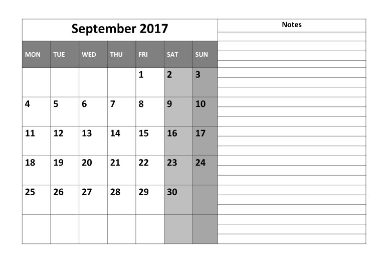 September 2017 Printable Calendar | Printable Calendar 2017 Templates