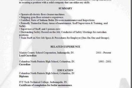 School Custodian Job Resume Samples - Reentrycorps