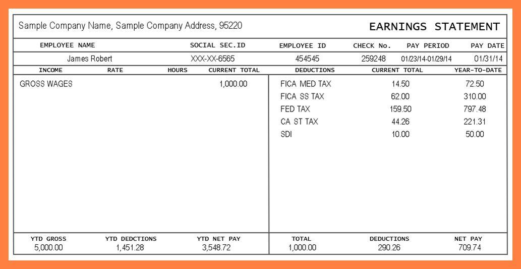 11+ pay stubs templates free | Securitas Paystub