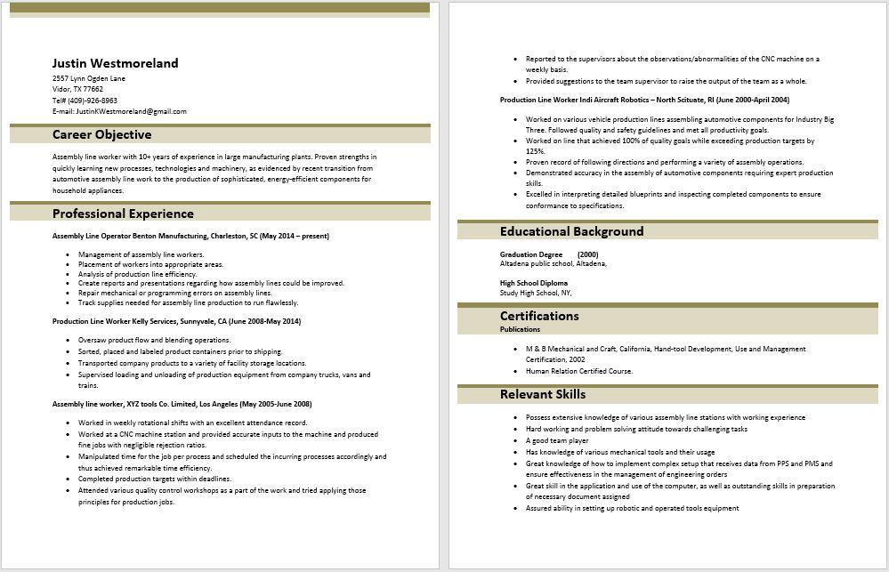 Excellent Assembly Line Job Description For Resume 97 On Good ...