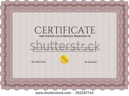 Orange Certificate Template Printer Friendly Detailed Stock Vector ...