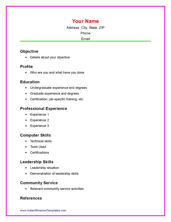 blank resume template for high school students ...