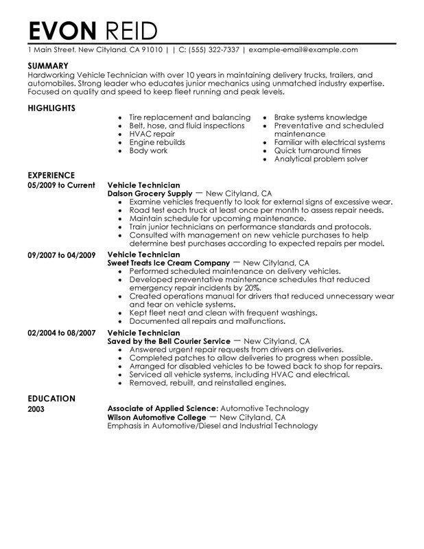 Top Automotive Technician Resume Examples