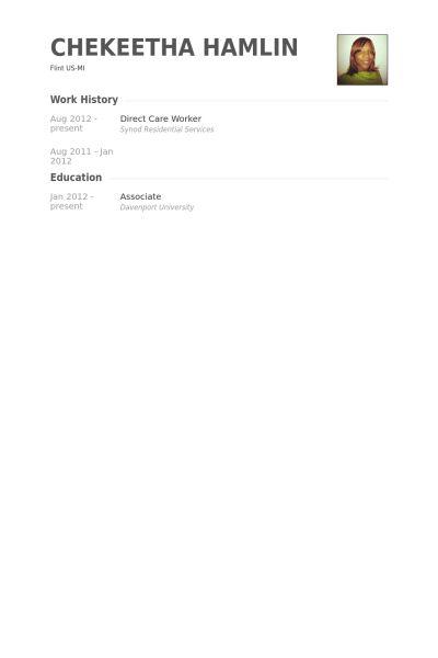 Direct Care Worker Resume samples - VisualCV resume samples database