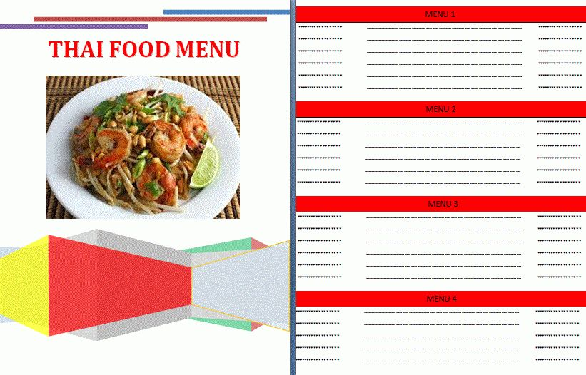 Thai Food menu template | Formsword: Word Templates & Sample Forms
