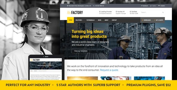 Factory - Industrial Business WordPress Theme by commercegurus ...