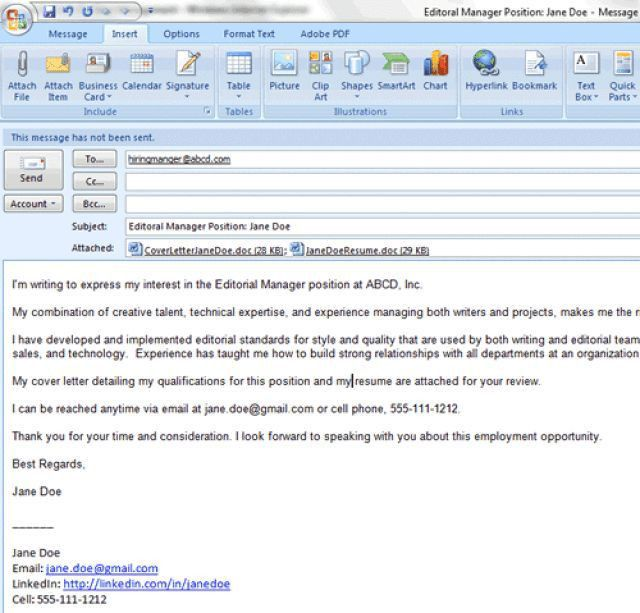 How To Send Resume And Cover Letter By Email #11287