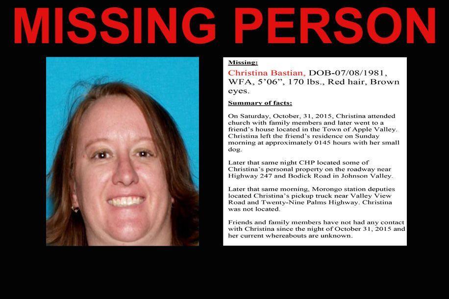 Christina Bastian's missing person flyer - Hi-Desert Star: Home
