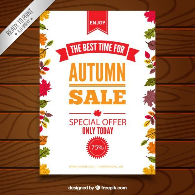 Autumn sale poster template Vector | Free Download