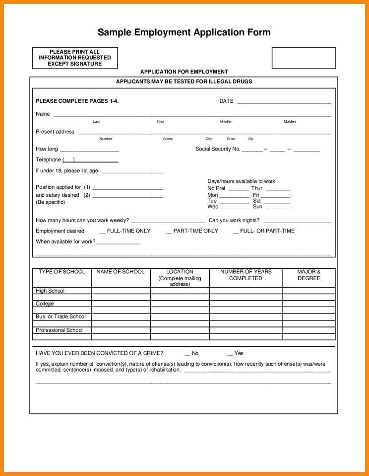 6+ sample employment application form | model resumed