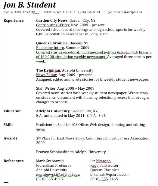 Unbelievable Design How To Write A Resume For College 2 First Job ...